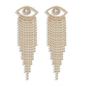 Yellow Gold Evil Eye Boho Long Rhinestone Earrings